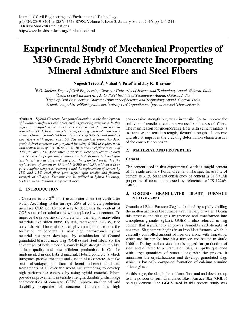 EXPERIMENTAL INVESTIGATION ON PROPERTIES OF CONCRETE WITH HYBRID MINERAL ADMIXTURES