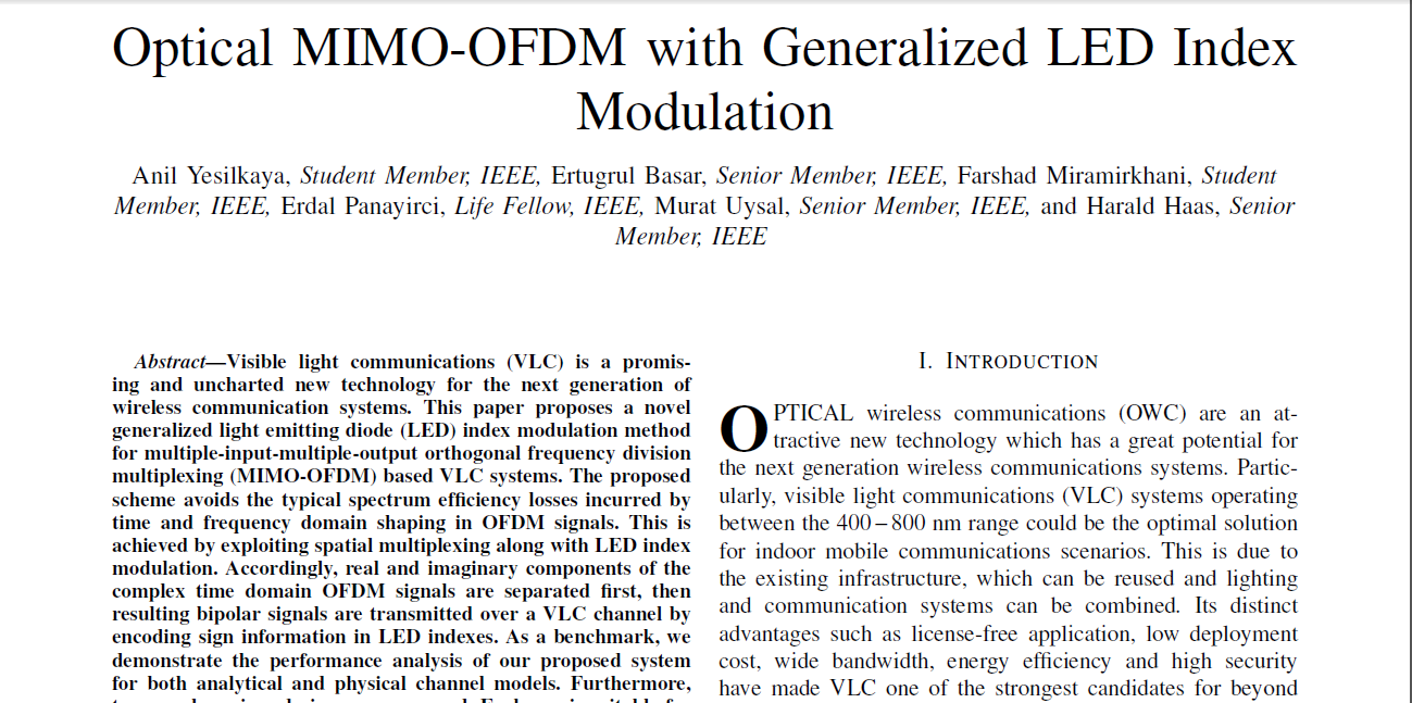Analysis of VLC based MIMO-OFDM with Generalized LED Index